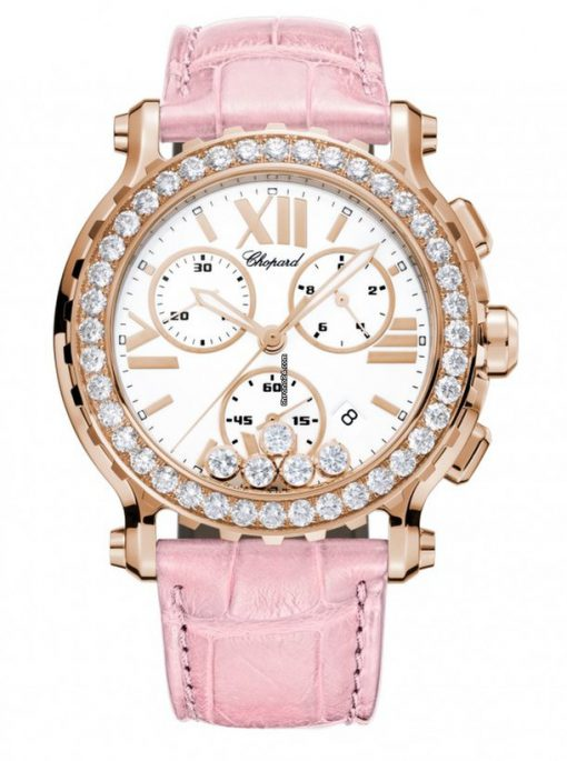 Chopard Happy Sport 18K Rose Gold & Diamonds Ladies Watch, 283583-5001