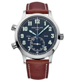 Patek Philippe Complications Calatrava Pilot Travel Time White Gold Men's Watch 5524G-001