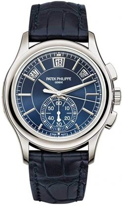 Patek Philippe Annual Calendar Chronograph Platinum Blue Dial Men's Watch 5905P-001