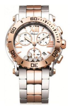 Chopard Happy Sport 18K Rose Gold, Stainless Steel & Diamonds Ladies Watch 288499-6002