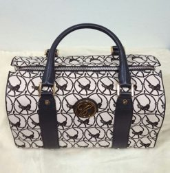 Chopard Brown Milano Mini Leather-Trim Canvas Handbag with Monkey Print. New! 9500-0328
