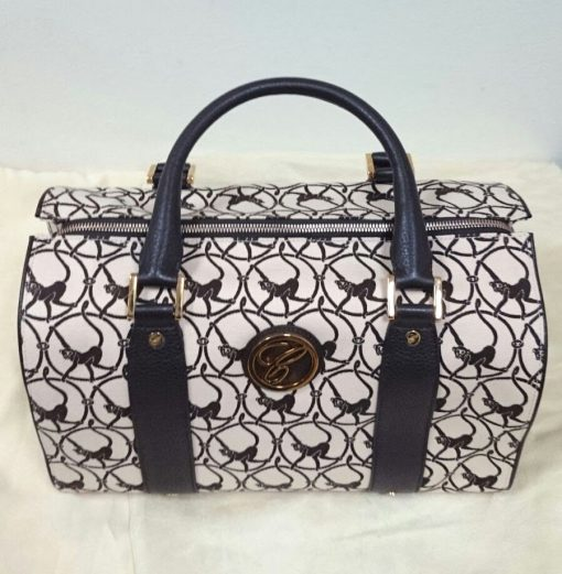 Chopard Brown Milano Mini Leather-Trim Canvas Handbag with Monkey Print. New!, 9500-0328