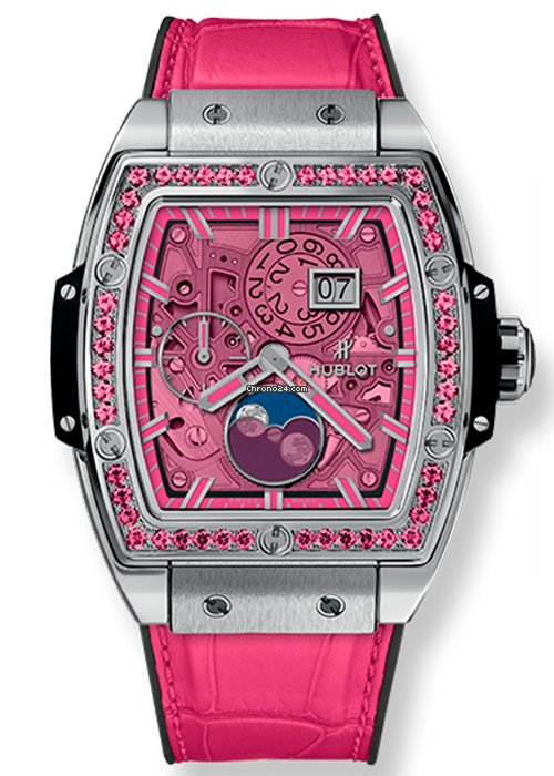 Hublot Spirit of Big Bang Moonphase Pink Titanium Ladies Watch, 647.NX.7371.LR.1233