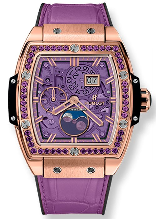 Hublot Spirit of Big Bang Moonphase Purple 18K King Gold Ladies Watch, 647.OX.4781.LR.1205