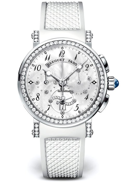Brequet Marine 8828 18K White Gold & Diamonds Ladies Watch, 8828BB/5D/586/DD00