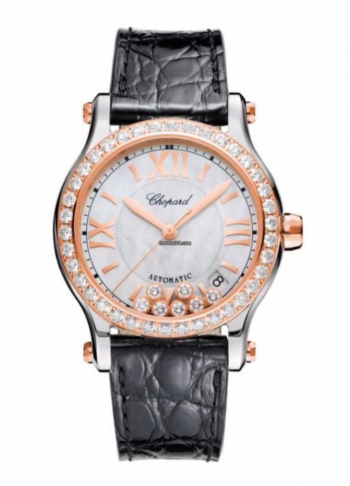 Chopard Happy Sport 18K Rose Gold, Stainless Steel & Diamonds Ladies Watch, 278559-6006