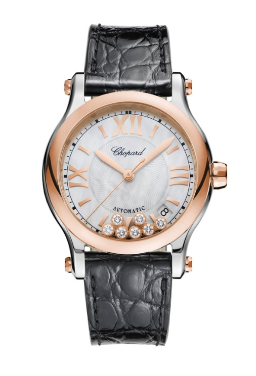 Chopard Happy Sport Diamonds, Stainless Steel & 18K Rose Gold Ladies Watch, 278559-6008