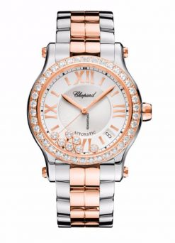 Chopard Happy Sport 18K Rose Gold, Stainless Steel & Diamonds Ladies Watch 278559-6004