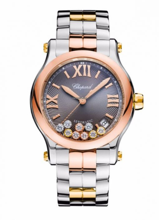 Chopard Happy Sport 18K Rose And Yellow Gold, Stainless Steel & Diamonds Ladies Watch, 278559-9001