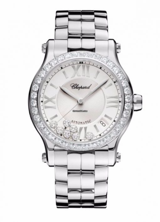 Chopard Happy Sport Stainless Steel & Diamonds Ladies Watch, 278559-3004