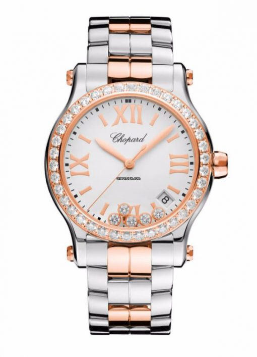 Chopard Happy Sport 18K Rose Gold, Stainless Steel & Diamonds Ladies Watch, 278582-6004