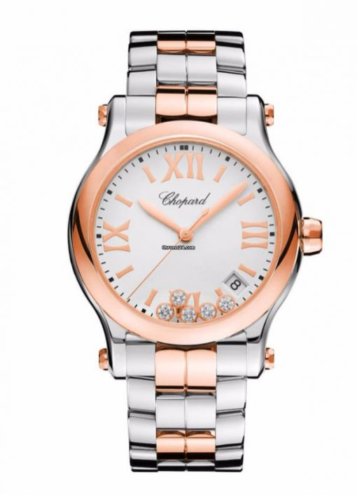 Chopard Happy Sport 18K Rose Gold, Stainless Steel & Diamonds Ladies Watch, 278582-6002