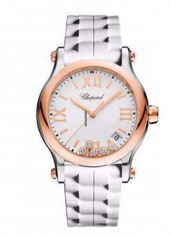 Chopard Happy Sport 18K Rose Gold, Stainless Steel & Diamonds Ladies Watch 278582-6001
