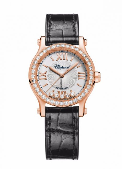 Chopard Happy Sport 18K Rose Gold & Diamonds Ladies Watch, 274893-5002
