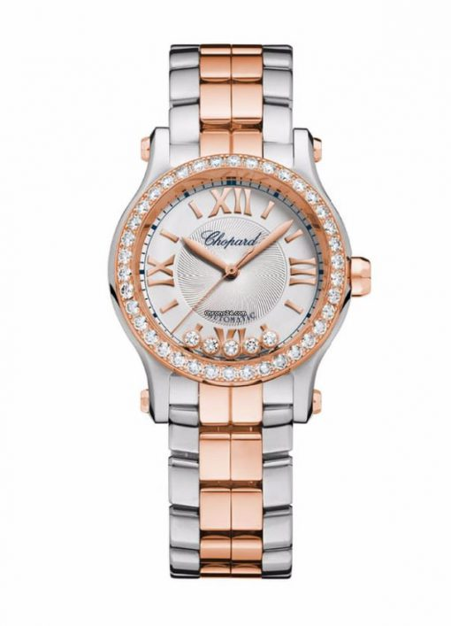 Chopard Happy Sport 18K Rose Gold, Stainless Steel & Diamonds Ladies Watch, 278573-6004