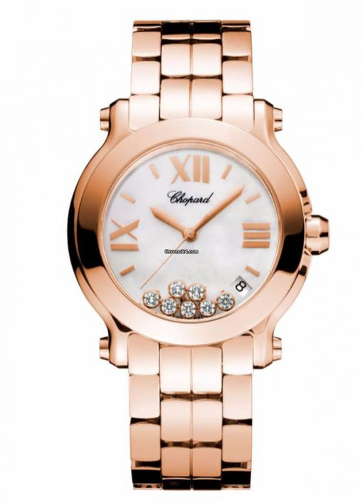 Chopard Happy Sport 18k Rose Gold & Diamonds Ladies Watch, 277472-5002