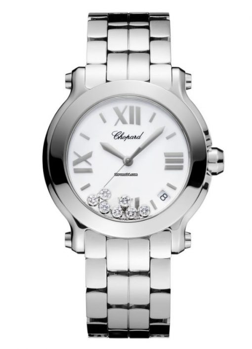 Chopard Happy Sport Stainless Steel & Diamonds Ladies Watch, 278477-3001