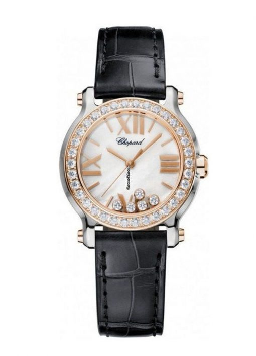 Chopard Happy Sport 18K Rose Gold, Stainless Steel & Diamonds Ladies Watch, 278509-6006