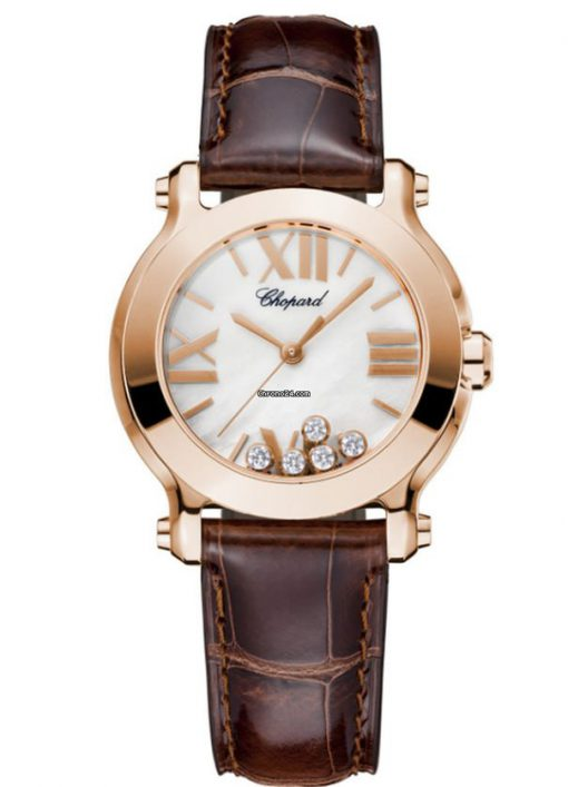 Chopard Happy Sport 18K Rose Gold & Diamonds Ladies Watch, 274189-5001