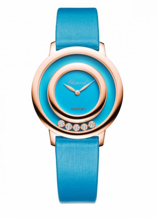 Chopard Happy Sport Icons 18K Rose Gold, Reconstructed Turquoise & Diamonds Ladies Watch, 209429-5104