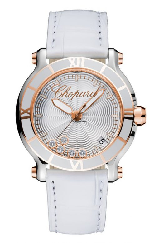 Chopard Happy Sport 18K Rose Gold & Diamonds Ladies Watch, 278551-6002