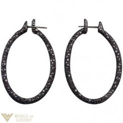 Roberto DeMeglio 18K White Gold & Black Diamonds Oval Hoop Earrings Demeglio_hoop_earrings