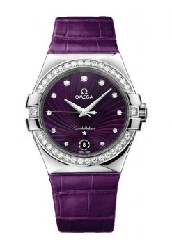 Omega Constellation Purple Quartz 35mm Ladies Watch 123.18.35.60.60.001