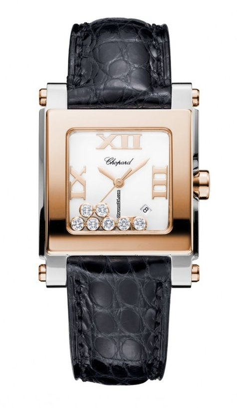 Chopard Happy Sport 18K Rose Gold, Stainless Steel & Diamonds Ladies Watch, 278497-9001