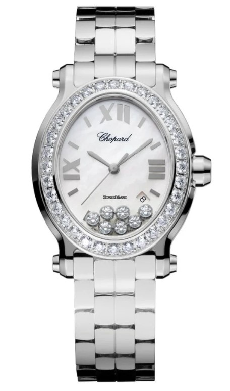 Chopard Happy Sport Stainless Steel & Diamonds Ladies Watch, 278546-3004
