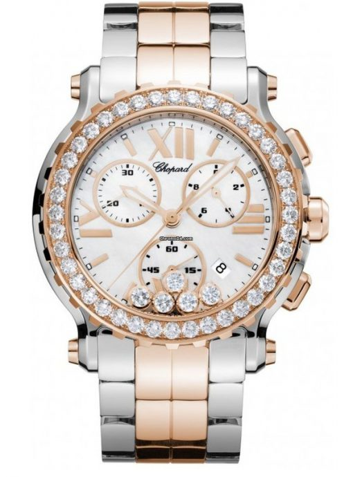 Chopard Happy Sport 18K Rose Gold, Stainless Steel & Diamonds Ladies Watch, 288506-6002