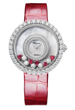 Chopard Happy Diamonds 18K White Gold, Rubies & Diamonds Ladies Watch 204445-1006