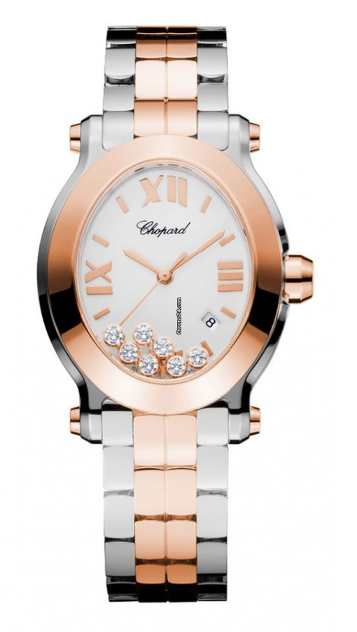 Chopard Happy Sport 18K Rose Gold, Stainless Steel & Diamonds Ladies Watch, 278546-6003