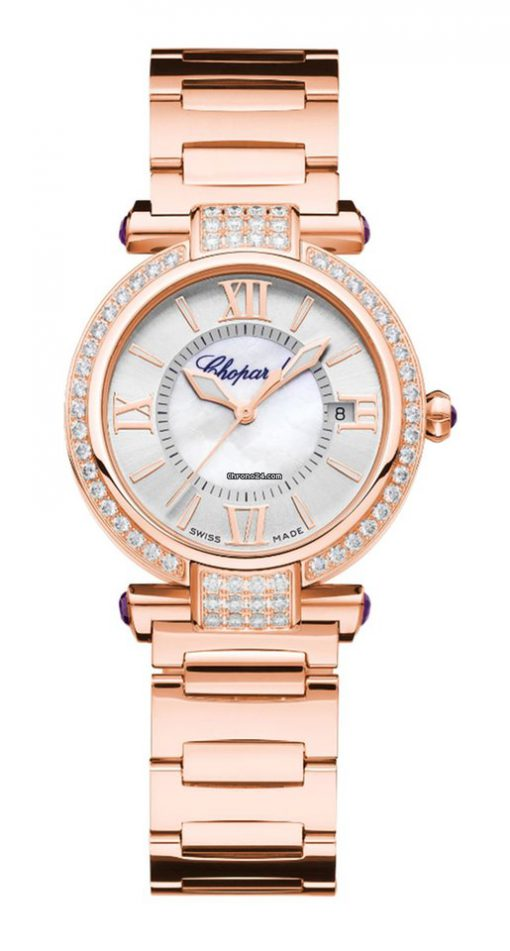 Chopard Imperiale 18K Rose Gold, Amethysts & Diamonds Ladies Watch, 384319-5004