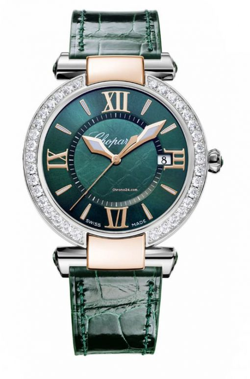 Chopard Imperiale 18K Rose Gold, Stainless Steel, Green Tourmalines & Diamonds Ladies Watch, 388532-6008
