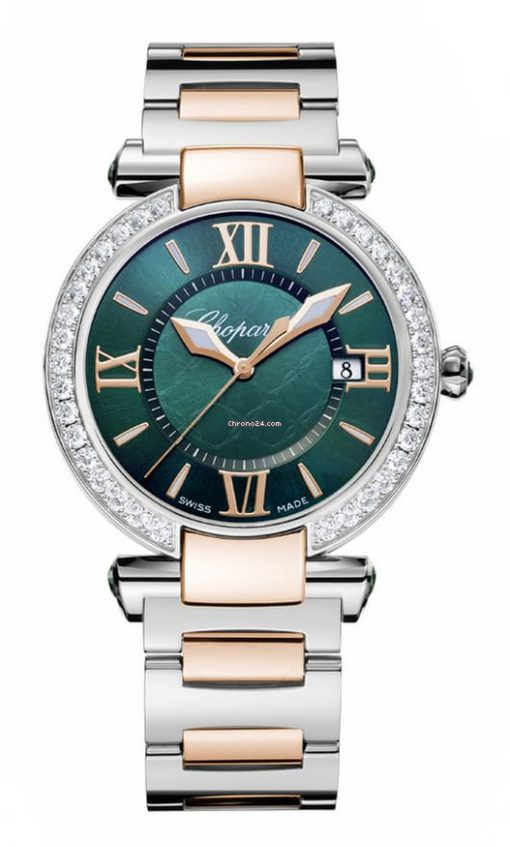 Chopard Imperiale 18K Rose Gold, Stainless Steel, Green Tourmalines & Diamonds Ladies Watch, 388532-6009