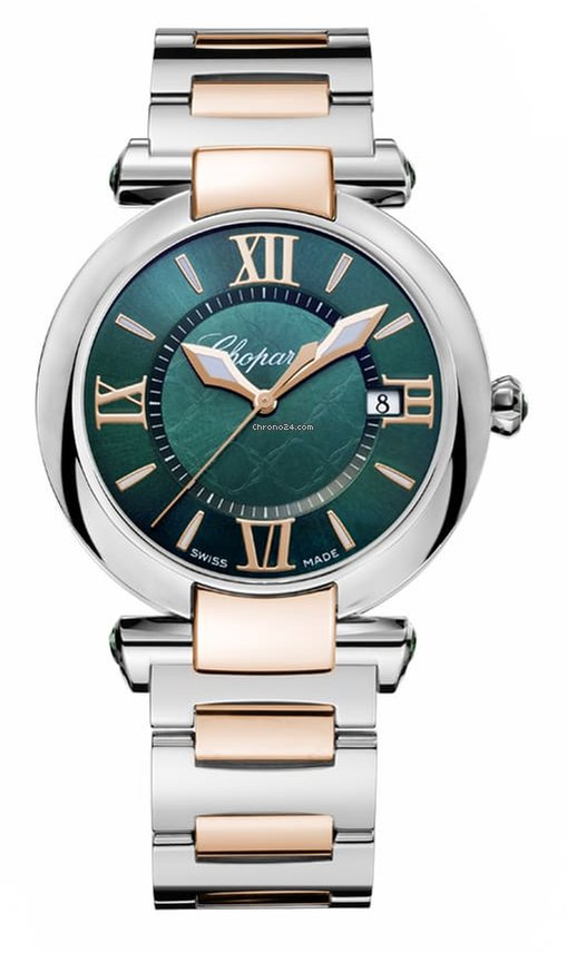 Chopard Imperiale 18K Rose Gold, Stainless Steel & Green Tourmalines Ladies Watch, 388532-6007