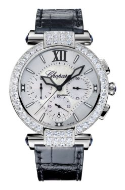 Chopard Imperiale Chrono 18K White Gold, Blue Sapphires & Diamonds Ladies Watch 384211-1001
