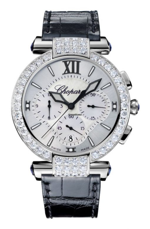 Chopard Imperiale Chrono 18K White Gold, Blue Sapphires & Diamonds Ladies Watch, 384211-1001