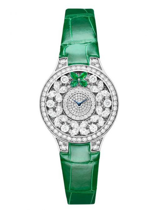 Graff Classic Butterfly White Gold, Emeralds & Diamonds Ladies Watch, butterfly-cl-wg-ded