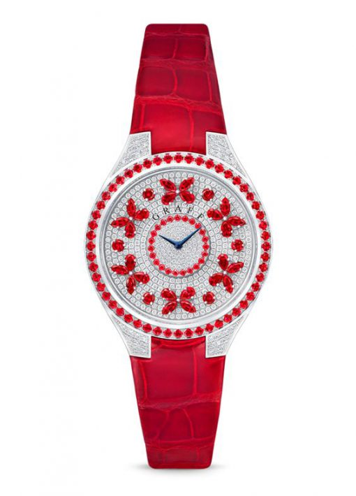 Graff Disco Butterfly White Gold, Rubies & Diamonds Ladies Watch, butterfly-dis-wg-rd
