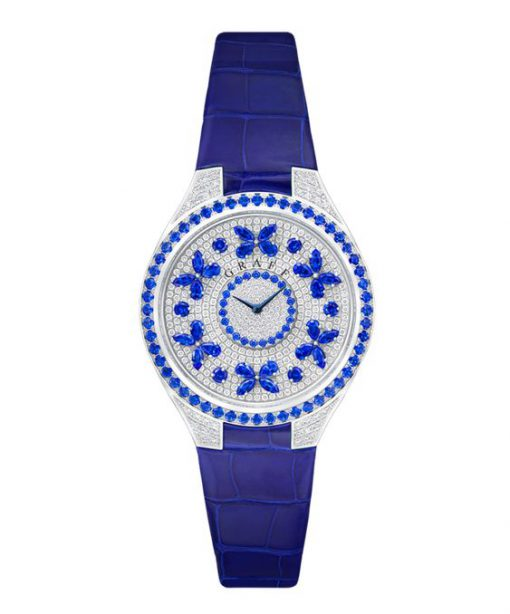 Graff Disco Butterfly White Gold, Sapphires & Diamonds Ladies Watch, butterfly-dis-wg-sd