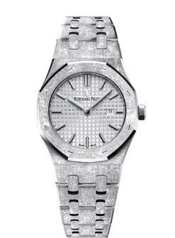Audemars Piguet Royal Oak Quartz 18K Frosted White Gold Ladies Watch 67653BC.GG.1263BC.01