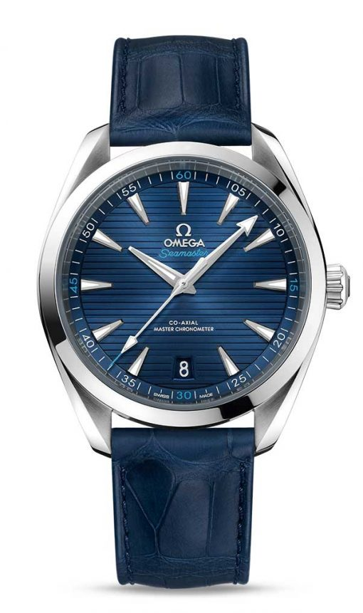 Omega Seamaster Aqua Terra 150M Co-Axial Master Chronometer Blue Dial 41mm Men's Watch with Leather Strap, 220.13.41.21.03.001
