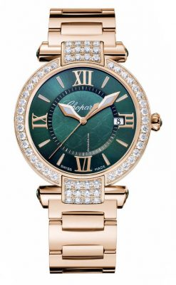 Chopard Imperiale 18K Rose Gold, Green Tourmalines and Diamonds Ladies Watch 384221-5016