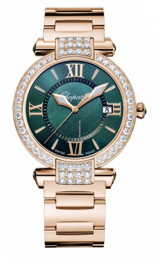 Chopard Imperiale 18K Rose Gold, Green Tourmalines and Diamonds Ladies Watch, 384221-5016