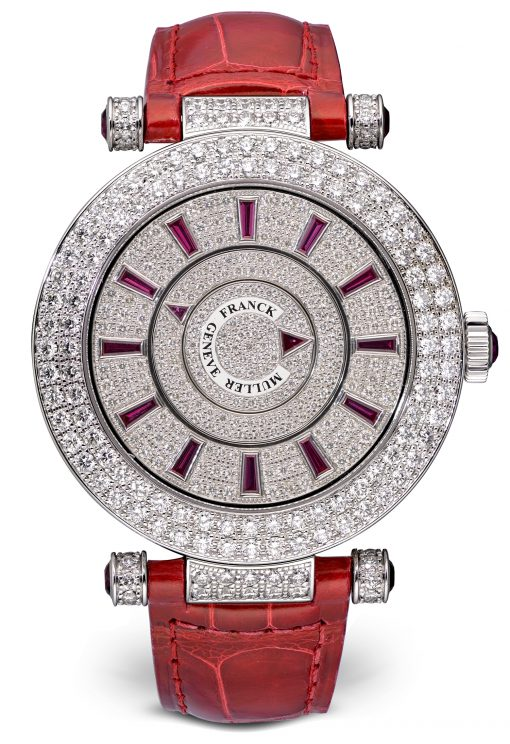 Franck Muller Double Mystery Ronde 18K White Gold, Diamonds & Rubies Ladies Watch, Preowned-42 D 2R CD