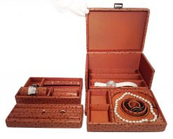 Scatola del Tempo Jewelry Storage Case Tesoro C Light Brown Ostrich Tesoro-C-Ostrich-Light-Brown
