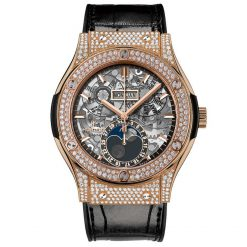 Hublot Classic Fusion 45mm Moonphase King Gold Pave Automatic Watch 517.OX.0180.LR.1704