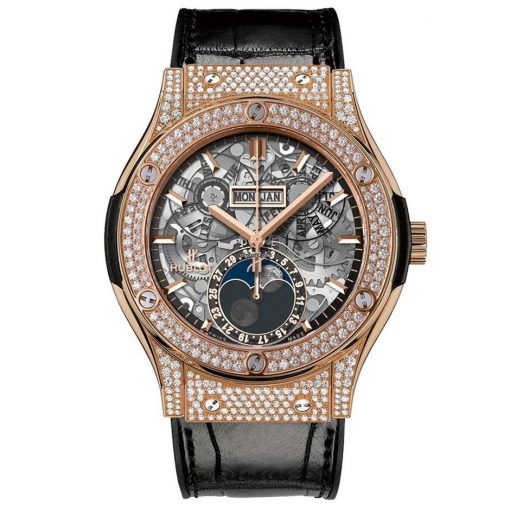 Hublot Classic Fusion 45mm Moonphase King Gold Pave Automatic Watch, 517.OX.0180.LR.1704