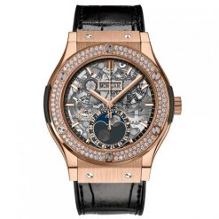 Hublot Classic Fusion 45 mm Moonphase King Gold Diamonds Automatich Watch 517.OX.0180.LR.1104